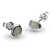 "Sterling Silver Post Earrings-""Mini Pebble"" Faceted Labradorite"