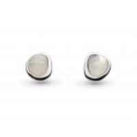 "Sterling Silver Post Earrings-""Pebble"" Faceted Moonstone"
