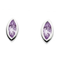 Sterling Silver Stud Earrings- Amethyst