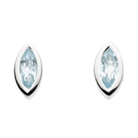 Sterling Silver Stud Earrings-Blue Topaz