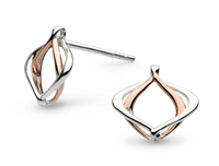 "Sterling Silver & Rose Gold Plated Post Earrings- ""Infinity- Alicia"""