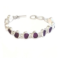 Sterling Silver Link Bracelet- Rough Cut Amethyst