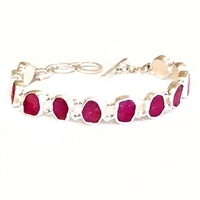 Sterling Silver Link Bracelet- Rough Cut Ruby