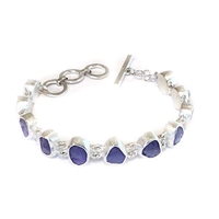 Sterling Silver Link Bracelet- Rough Cut Tanzanite