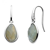 "Sterling Silver ""Pebble Drop"" With Labradorite Earrings"