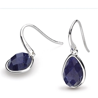 "Sterling Silver ""Pebble Drop"" With Lapis Earrings"