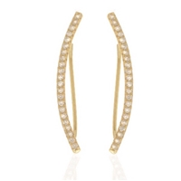 22k Gold Plated Ear Climbers - Crescent CZ