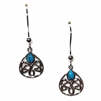 Sterling Silver Celtic Drop Earrings with Turquoise