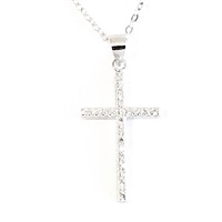 Sterling Silver Necklace- Pave' Cubic Zirconia Cross