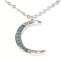 Sterling Silver Necklace- Turquoise Cubic Zirconia Moon