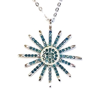 Sterling Silver Necklace- Turquoise Cubic Zirconia Sunburst