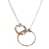 Sterling Silver & Copper Double Ring Necklace