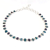 Sterling Silver Necklace- Rough Cut Apatite, Aquamarine & Tanzanite