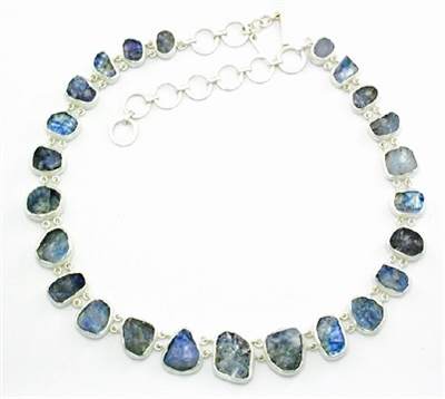 Sterling Silver Necklace- Rough Cut Rainbow Moonstone