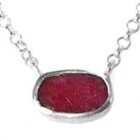 Sterling Silver Necklace- Rough Cut Ruby