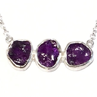 Sterling Silver Necklace- Rough Cut Amethyst