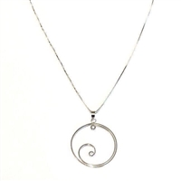 Sterling Silver Pendant- Swirl in Circle