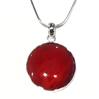 Sterling Silver Pendant- Red Coral