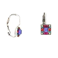 Firefly Leverback Earrings-Multi-Color Mosaic Square