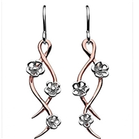 "Mixed Metal ""Blossom Twist"" Drop Earrings"