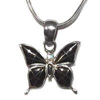 Sterling Silver Butterfly Pendant- Black Onyx