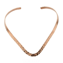 Copper Hammered V-Shaped Collar