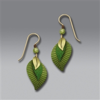 Adajio Earrings - 3 Part Green & Brass Leaves