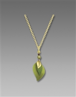 Adajio Necklace - 3 Part Green & Brass Leaves Pendant