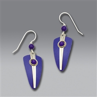 Adajio Earrings - Blue Shield with Shiny Silver Stripe and Blue Cabochon