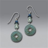Adajio Earrings - Faded Denim Blue Patterned Disc with Luster Beads