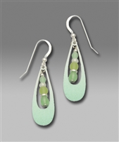 Adajio Earrings -  Green Open Drop with Beads