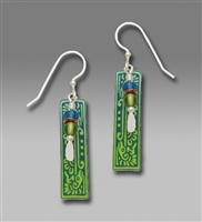 Adajio Earrings- Long Blue-Green Column with Ancient Bird Motif Drop