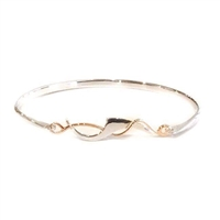 Sterling Silver & Rose Gold Filled Art Nouveau Bangle Bracelet