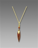 Adajio Necklace - 3 Part Slender Gold, Brown & Bronze Leaves