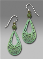 Adajio Earrings - Green Filigree Large Teardrop with Beads