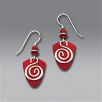 Adajio Earrings - Coral Red Shield with Hematite Spiral