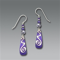 Adajio Earrings -Purple Silver-Tone with Squiggle Overlay