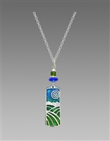 Adajio Necklace -Lush Green & Blue Column 'Landscape' Overlay