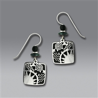 Adajio Earrings - Black Square with Shiny Silver Tone Sunrise Overlay