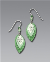 Adajio Earrings - Three-Part Mint Green Leaves with Shiny Silver Tone Overlay
