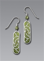 Adajio Earrings-Green with Silver Tone Overlay Column