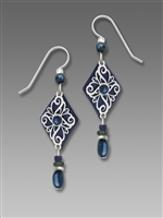 Adajio Earrings - Navy Diamond Drop with Shiny Silver Filigree Overlay