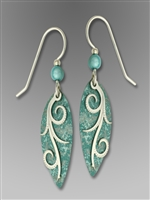 Adajio Earrings - Dusty Aqua Oval with Shiny Silver Tone Tendrils Overlay