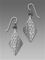 Adajio Earrings - Shiny Silver Tone Diamond Shape Filigree