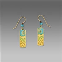 Adajio Earrings - Sky Blue & Gold Column with Gold Plated Fields Overlay