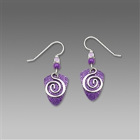 Adajio Earrings - Violet Shield with Silver Tone Squiggle