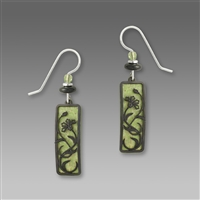 Adajio Earrings- Green with Floral Overlay