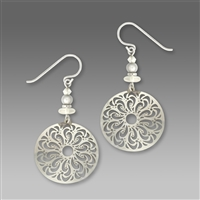 Adajio Earrings - Shiny Silver Filigree Large Disc