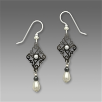 Adajio Earrings - Shiny Hematite Tone Filigree Diamond Shape with White Bead Drop