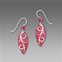 Adajio Earrings - Fuchsia Pointed Oval with Shiny Silver tone Tendrils Overlay